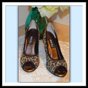 Vaneli Animal Print & Gold Peep Toe Heels
